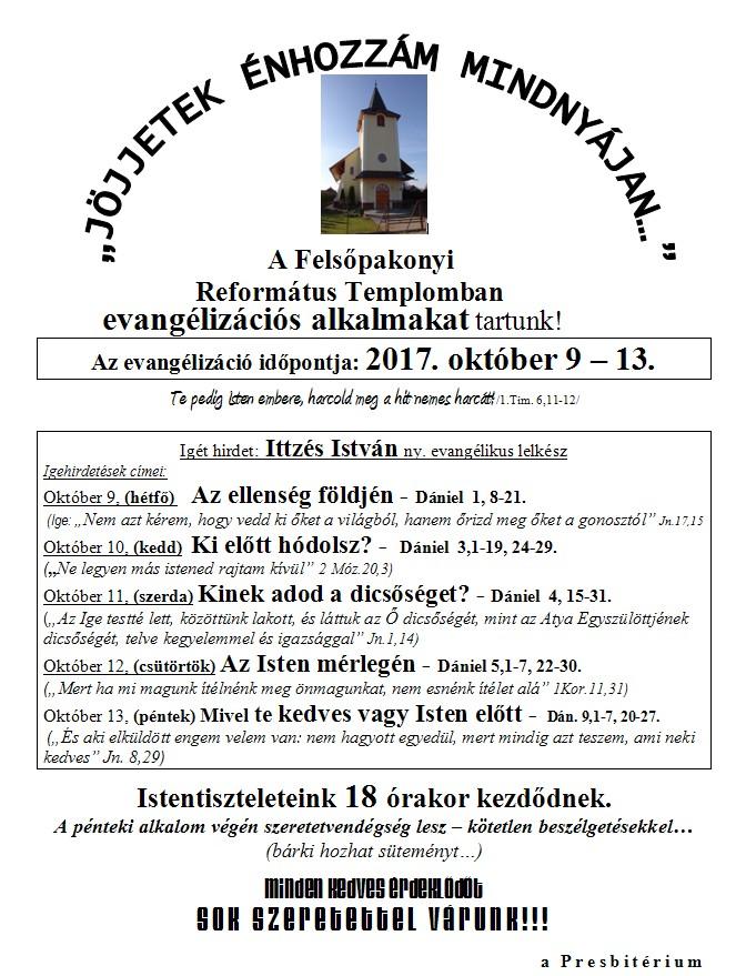 Evangélizációs alkalmak - 2017. október 9-13.