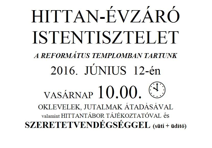 HITTAN-ÉVZÁRÓ ISTENTISZTELET