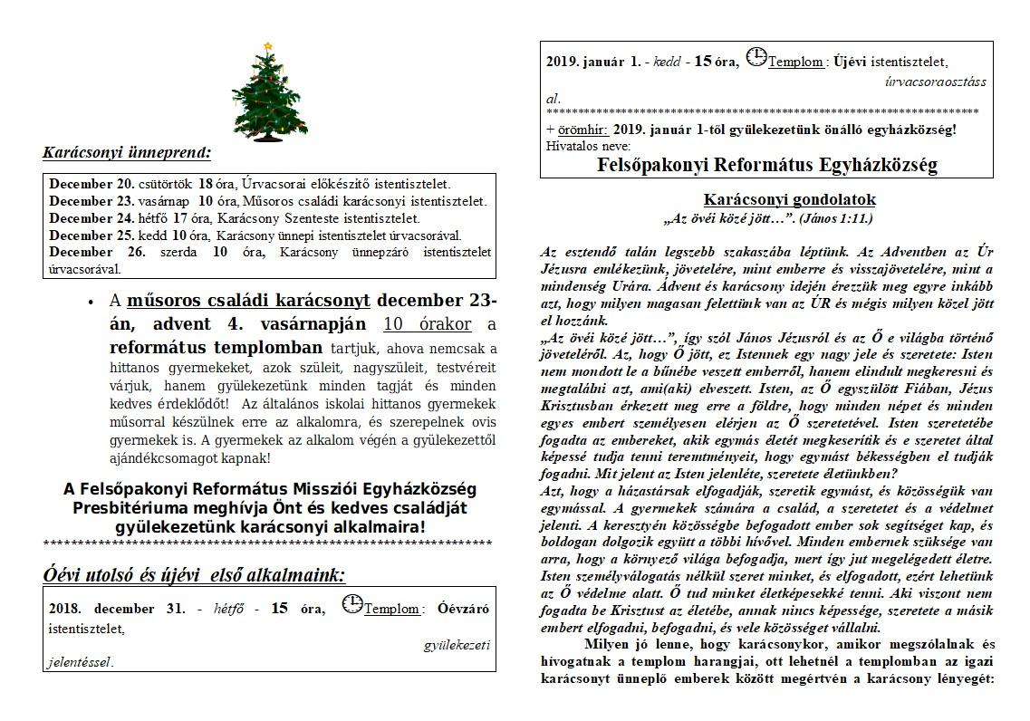 Karácsonyi Hírlevél – 2018.