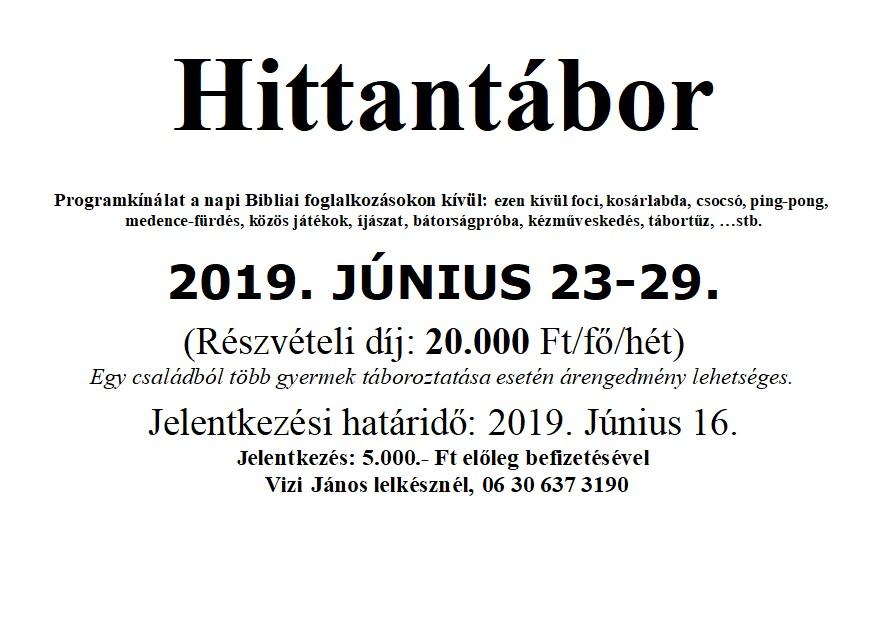 Hittantábor 2019. június 23-29.