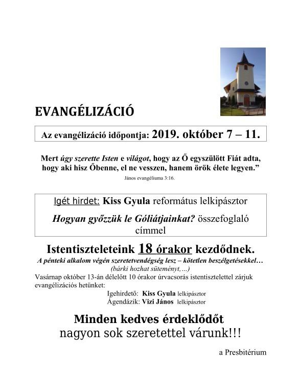 EVANGÉLIZÁCIÓ - 2019. október 7-11.